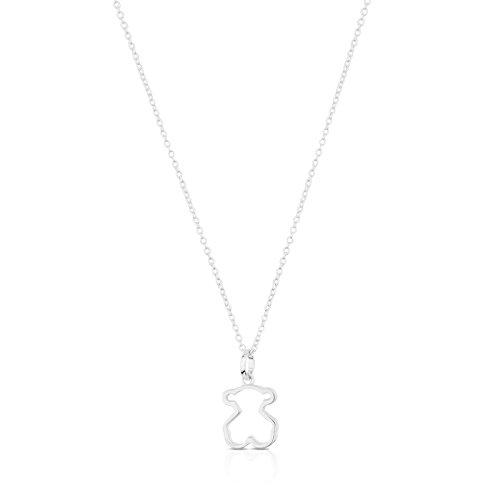 TOUS Galaxy - Collar y Colgante con Silueta de Oso, Plata de Primera Ley - Motivo: 1,2 cm, Largo: 45 cm