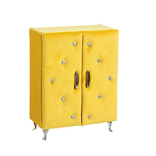 Armario joyero tapizado en Terciopelo Amarillo Vintage para Dormitorio - LOLAhome