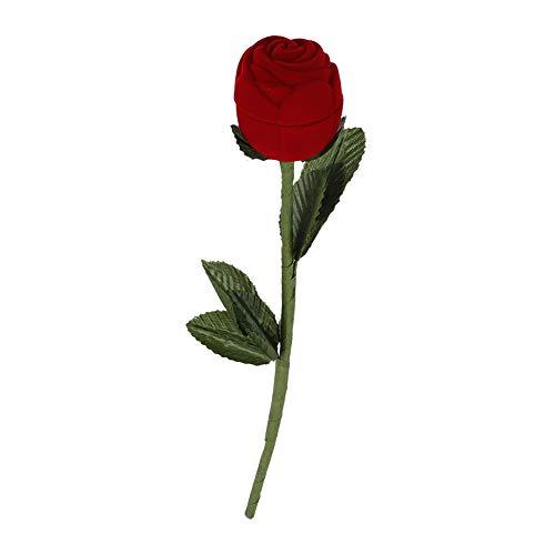 Caja de Anillo de Rosas, joyero de Terciopelo Rojo con Tallo Largo y Hojas Falsas, Adecuado para Bodas de Aniversario de cumpleaños y Escena de propuesta
