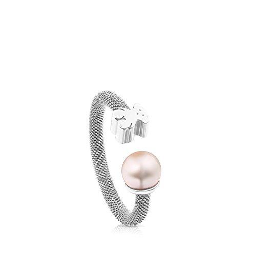 Anillo TOUS Mesh de plata de primera ley con perla de 0,65-0,7 cm. Oso 0,7 cm