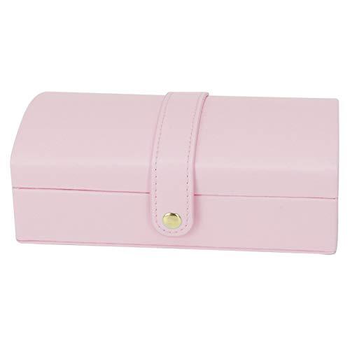 Uxsiya Joyero PU cuero pendiente almacenamiento caso 17x9.5x6cm joyería (rosa capacidad interna grande)