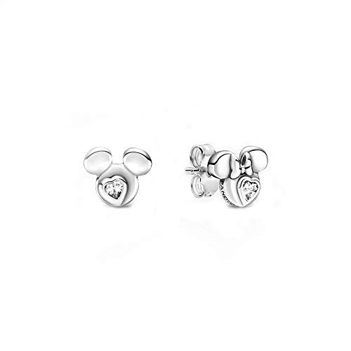 Pandora Disney Mickey Mouse & Minnie Mouse Silhouette Pendientes de plata de ley con una piedra de circonita, tamaño: 0,7 cm