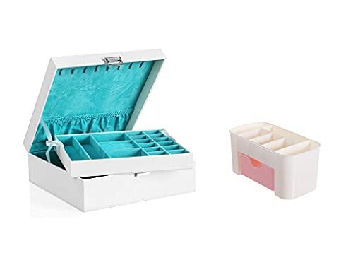 Recet Joyero de 2 capas con bandeja extraíble para pendientes, pulseras, relojes, etc. Adecuado para mujeres y niñas (b)