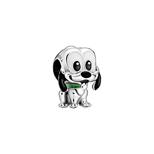 Disney Pluto - Abalorio de plata de ley con color negro, blanco y verde
