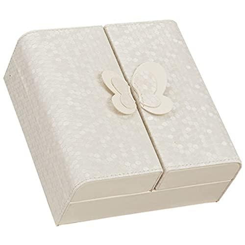 KYCD Joyero con diseño de mariposa, collar, anillo, pendientes, pulsera, caja de almacenamiento, regalo para mujeres y niñas (color azul)