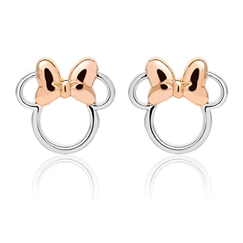 Disney Pendientes de plata de ley Minnie Mouse plateado