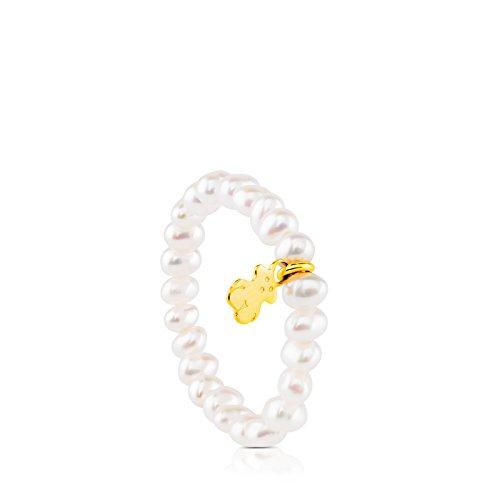 Anillo elástico TOUS Pearls con perlas y oso de oro amarillo 18 kt - Talla 11.5