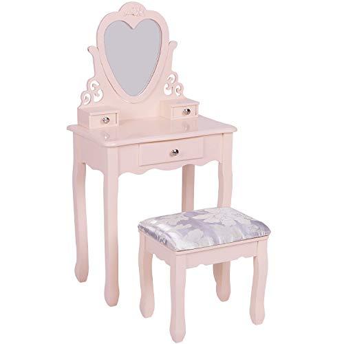 Jooli H - Tocador para niñas con espejo de corazón, cajones y taburete, color rosa