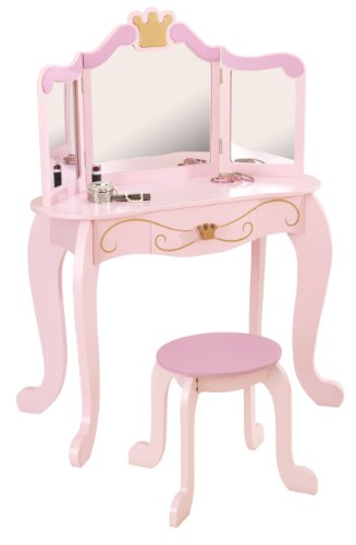 KidKraft- Princess Juego de tocador con espejo y taburete de madera, cuarto de juegos para niños/muebles de dormitorio, Color Rosa (76123)