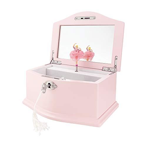 TIMLOG Joyero para niñas con cerradura, 2 bailarinas musicales de madera, pequeño organizador de almacenamiento de joyas con espejo para niñas, color rosa