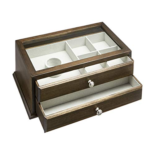 AmazonBasics – Joyero-relojero de madera con tapa de cristal, 2 cajones, marrón nogal