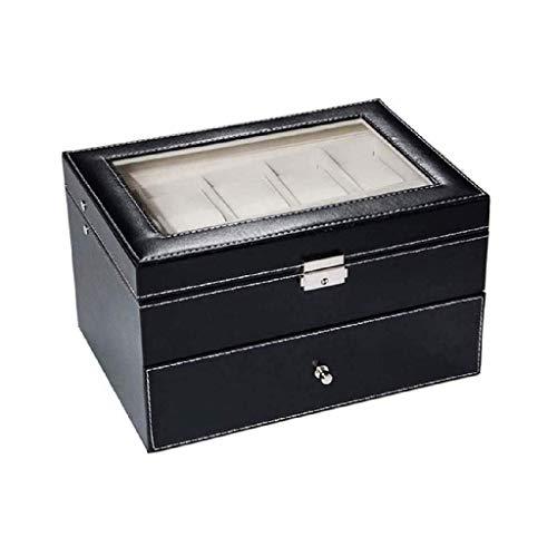 XZJJZ Joyería Box-Joyero Organizador - Diversified Compartimentos, joyería Elegante Caja de almacenaje del sostenedor for Mujeres Niñas, Negro de Cuero de imitación