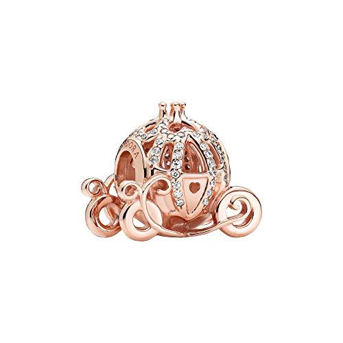 Pandora Abalorio de Cenicienta de Disney, en oro rosa bicolor (plata de ley y oro de 14 quilates) y circonitas cúbicas de la colección Disney x Pandora.
