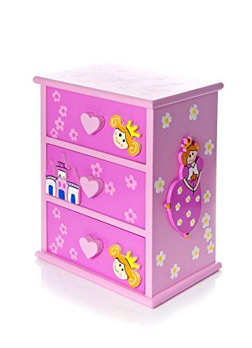 Mousehouse Gifts Joyero de Madera Rosa con Princesas un Regalo para Las más pequeñas