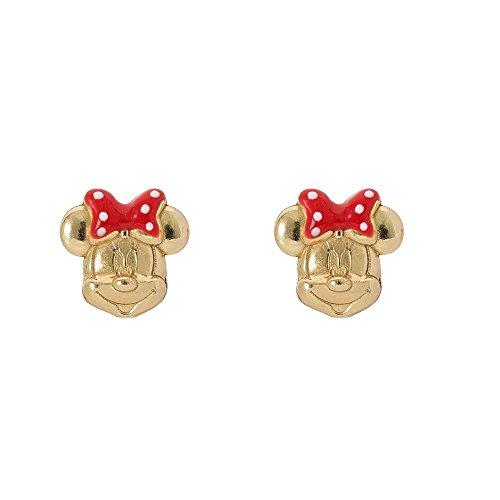 Disney Pendientes de plata de ley con lazo de lunares rojos de Minnie Mouse