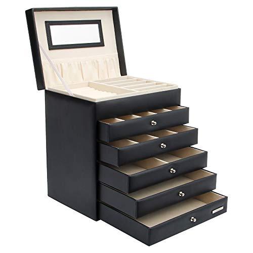 Yorbay Caja de joyería Nergo de Cuero con 5 cajones, Bloqueo y Espejo entegrado en la Tapa(5 cajones, Negro) Reutilizable