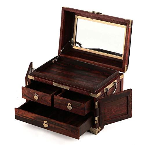 Laogg Caja Joyero Chino,Caja de joyería Caja Cerradura de Cobre Antiguo Babero Almacenamiento de joyería Caja de Palo de Rosa Muebles y Regalos orientales