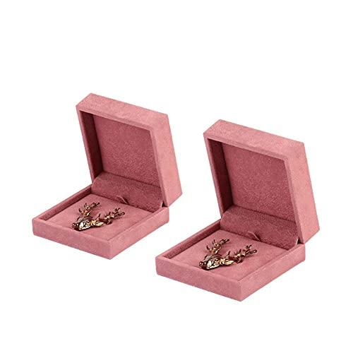 Bract 2 piezas Joyero Portátil Joyero Caja Pequeña Viaje Joyero Broche Caja Caja de Almacenamiento Impermeable Caja de Joyero Rosa