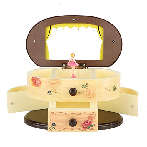 Caja de música de bailarina bailarina Caja de almacenamiento de joyero con corazón de melocotón creativo almacenamiento con espejo de maquillaje Caja musical de ballet giratoria para niñas(Beige)