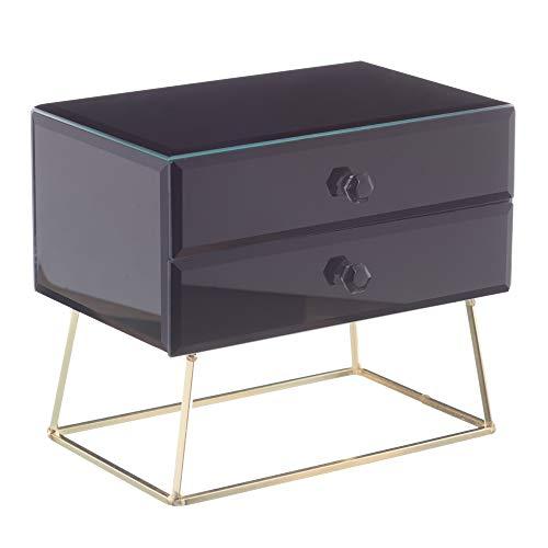 Joyero con 2 cajones de Cristal y DM Negro Luxury, de 20x13x17 cm - LOLAhome