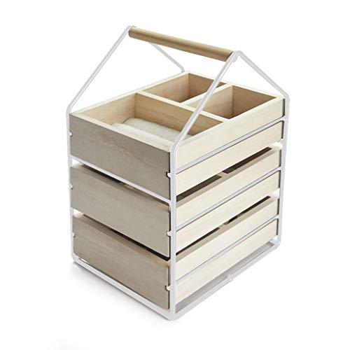 Balvi Organizador Joyas House Color Blanco Joyero con Tres cajones de Madera con asa Madera/Metal