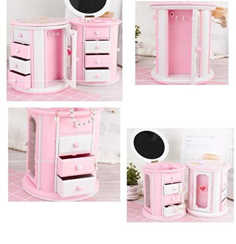 COOMOOC Carillon portagioie Ragazza, Caja de Almacenamiento Musical para Joyas para niñas con diseño de Hada giratoria, con cajón extraíble, Rosa