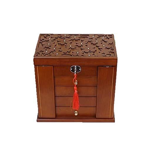 Joyero de madera, espejo incorporado, caja de almacenamiento grande de 5 cajones, caja de almacenamiento de joyas,joyero de gabinete, organizador de anillos, exquisitos patrones de tallado (marrón)