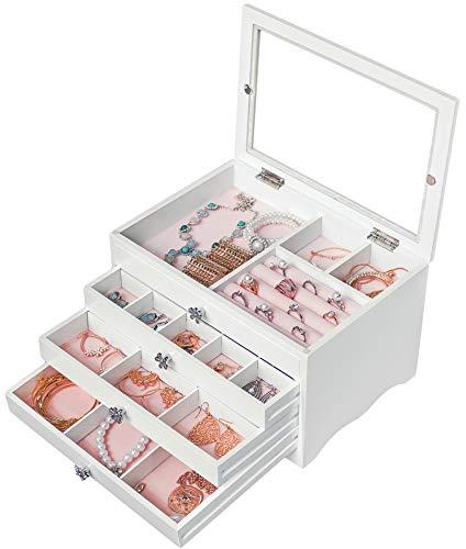 Dainty Joyero blanco para mujer, grande, con tapa de cristal, joyero, caja para pendientes, collares, pulseras, relojes, horquillas para el pelo