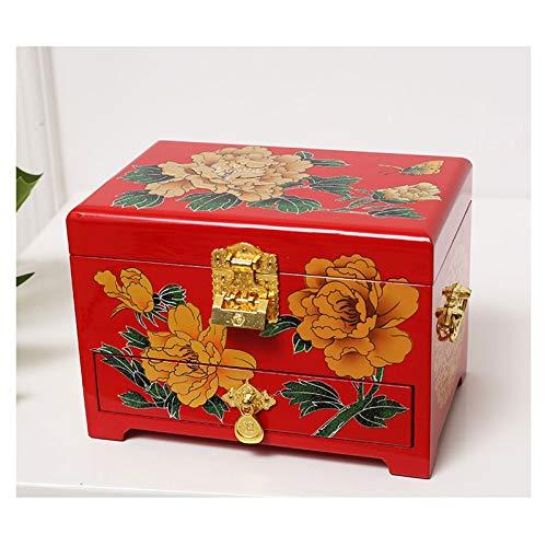 Cajas para joyas Joyería antigua caja de joyería de madera orientales Caja de almacenamiento caja de laca roja con Espejo de pintado a mano regalo for la familia Amigos joyero para mujer ( Color : A )