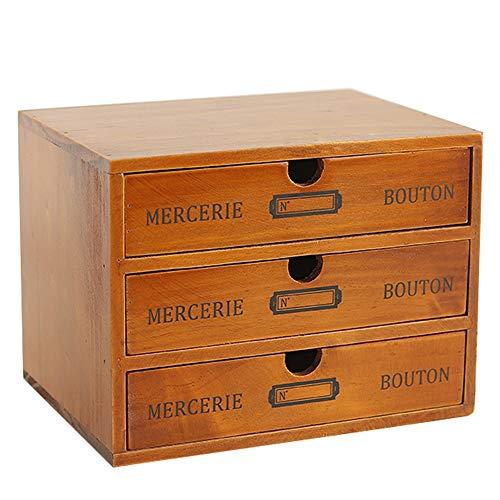 Baffect Caja de Almacenamiento Desktop con cajones de Madera Cajón Vintage de 3 Pisos en la Mesa Joyero Caja de Madera con cajón Organizador de Madera para Almacenamiento, 3 Pisos