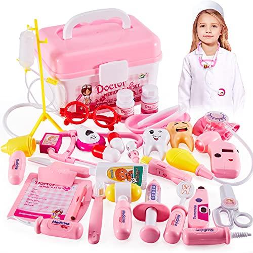 HERSITY Maletin Medicos Enfermera Disfraz Juguete Doctora Juegos de Imitacion Regalos para Niñas Niños 3 4 5 6 Años