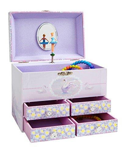 Jewelkeeper - Caja de Música Grande para Joyas para Niñas, con Flores Púrpuras y Cisnes Blancos, Equipada de 4 Cajones Extraíbles - Melodía del Lago de los Cisnes