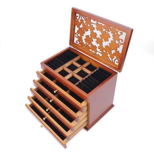 Eapmic - Joyero de Madera Tallada con 4 Hojas y 6 Capas de Madera