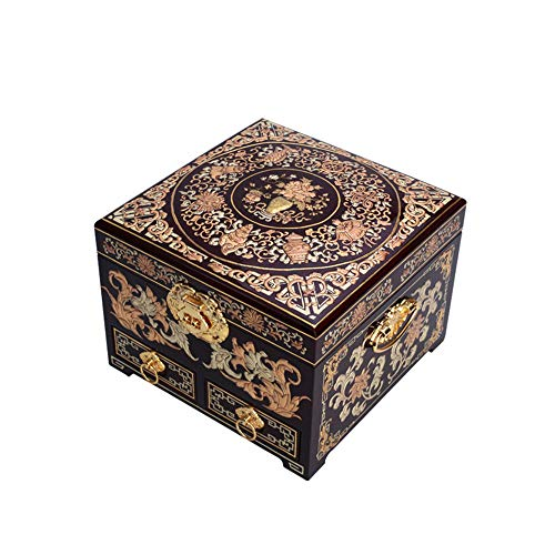 Laogg Caja Joyero Chino,Joyero Caja Madera Almacenamiento de joyería Artesanal Caja de Muebles y Regalos orientales