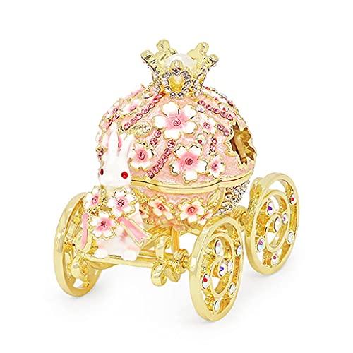Joyero Caja de joyería de calabaza de conejo creativo, caja de joyería de regalo de cerezo de carro, caja de almacenamiento de ruido de matrimonio para pernos aretes anillos contenedor organizador jew