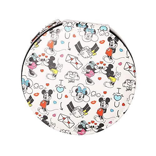 Disney Organizador de joyas de piel sintética con texto 'I Love You' de Mickey y Minnie Mouse