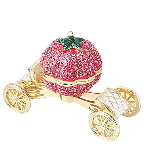 Joyero Caja de joyería de coche de calabaza creativa, caja de regalo de almacenamiento de joyería de caja de boda de cristal, caja de joyas para mujeres niñas Regalo de lujo contenedor organizador jew