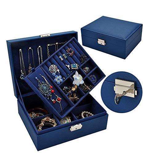 JIAJBG Joyero de almacenamiento de joyas con doble caja de almacenamiento para guardar relojes, pasta de madera maciza, cierre de cinturón, simple joyería, regalo de cumpleaños, azul, 9 x 19 x 24 cm
