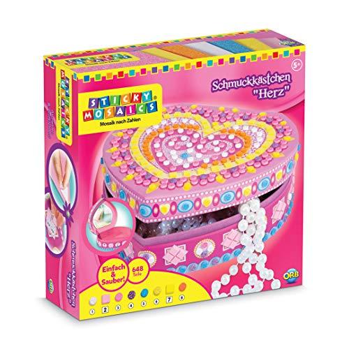 Orb Factory The 62897 Heart Box Sticky Mosaics - Joyero para Decorar con Pegatinas Mosaico (500 Piezas)