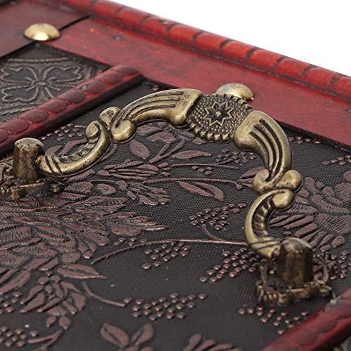 Con caja de almacenamiento de abalorios de espejo práctico joyero de madera para collar, pulsera y pendientes