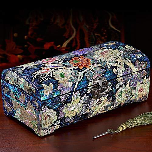 HAIHF Joyero, Madre Perla Laca Asiática Mujer Joyas de madera Cofre Recuerdo Tesoro Regalo Chicas Joya Anillo Caja de almacenamiento, Muebles y regalos orientales chinos