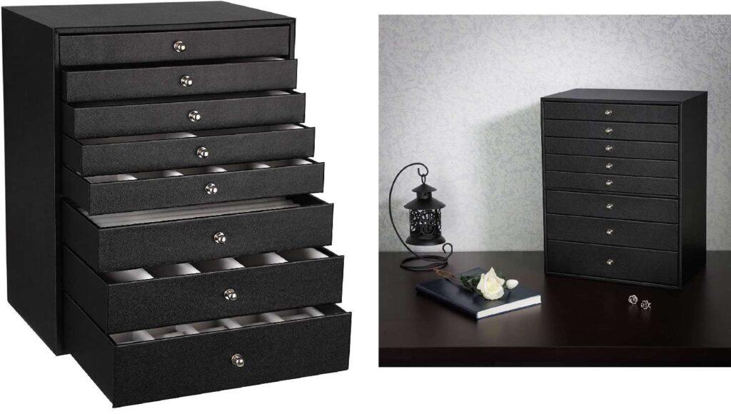 caja organizador de joyas con cajones grande color caoba